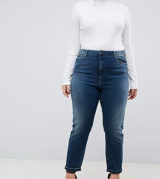 Asos DESIGN Curve Farleigh high waist slim mom jeans in aged blue wash
