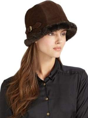 Eric Javits Vail Suede& Faux Shearling Hat
