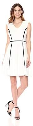 Sandra Darren Women's 1 PC Extended Shoulder Fit & Flare Scuba Crepe Dress
