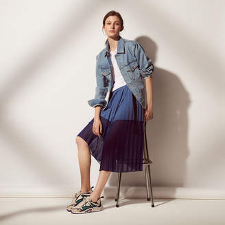Sandro Mid-length pleated two-tone skirt