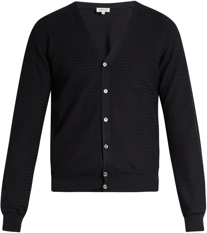 BrioniBRIONI Zigzag waffle-knit cotton cardigan