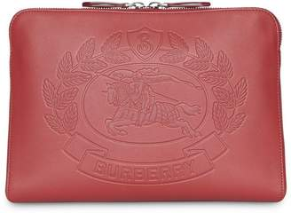 Burberry Embossed Crest Leather Document Case