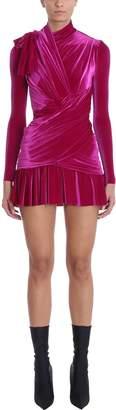 Balenciaga Purple Draped Velvet Mini Dress