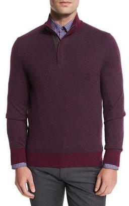 Ermenegildo Zegna Birdseye Cashmere-Blend Quarter-Zip Sweater, Purple $995 thestylecure.com