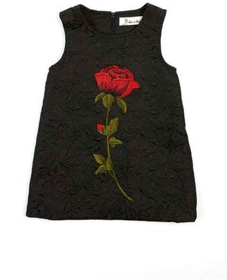 Doe A Dear Rose-Embroidered A-Line Dress