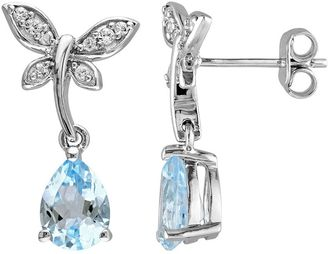 Laura Ashley Sterling Silver Topaz & White Sapphire Dragonfly Drop Earrings $450 thestylecure.com