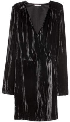 H&M Crushed-velvet Dress - Black