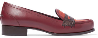 Bottega Veneta - Cites Crocodile-trimmed Leather And Suede Loafers - Burgundy $780 thestylecure.com