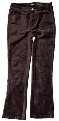 Paige Denim Velour Mid-Rise Straight-Leg Pants