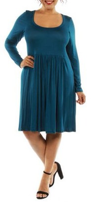 24/7 Comfort Apparel Women's Plus Midi Must Have Dress for Fall