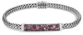 John Hardy Classic Chain Silver, Pink Spinel, Dark Pink Tourmaline, Pink Tourmaline& Pink Garnet Bracelet