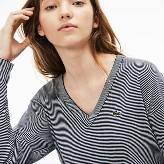 Lacoste (ラコステ) - 細ボーダー コットンジャージー Vネックセーター