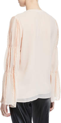 Karl Lagerfeld Paris Pearly Button-Down Lace-Sleeve Blouse