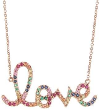 Sydney Evan Large Rainbow Love Necklace - Rose Gold
