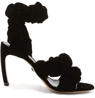 Nicholas Kirkwood Courtney Scrunchie Effect Velvet Sandals - Womens - Black