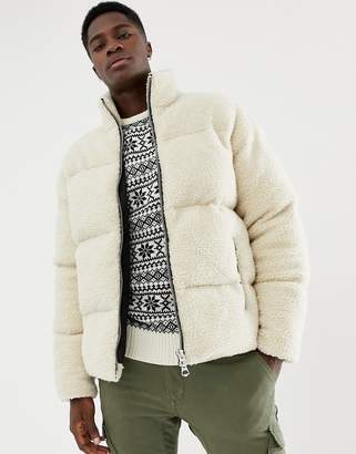 Asos DESIGN borg puffer jacket in ecru