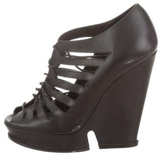 Saint Laurent Peep-Toe Lace-Up Pumps