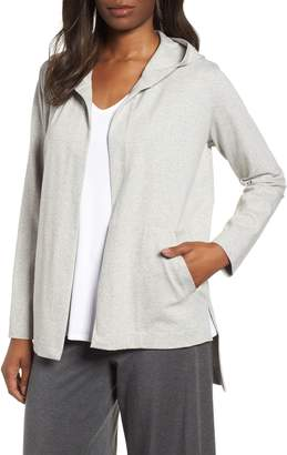 Eileen Fisher Hooded Stretch Organic Cotton Cardigan