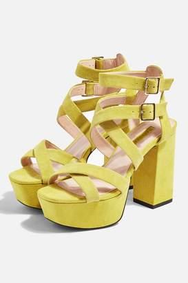 Topshop RADICAL Lime Platform Heels