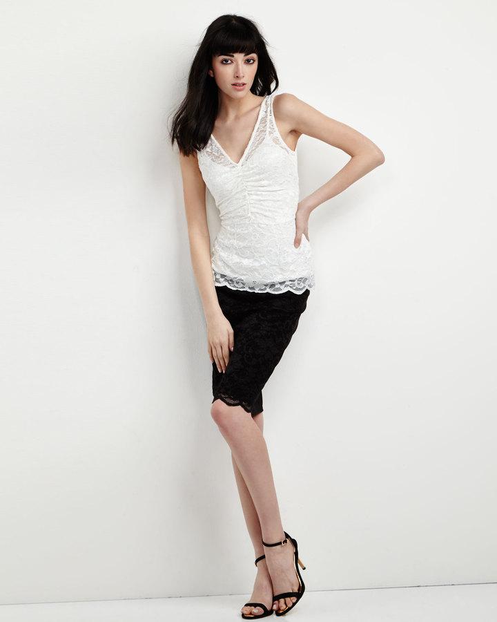 Velvet by Graham & Spencer Lace-Front Ponte Pencil Skirt, Black