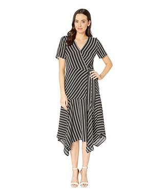 Vince Camuto Short Sleeve Playful Stripe Asymmetrical Hem Wrap Dress