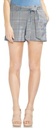 Vince Camuto Belted Plaid Shorts