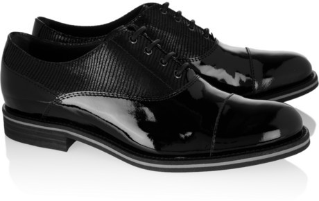 Tod's No_Code Lizard-effect paneled patent-leather brogues