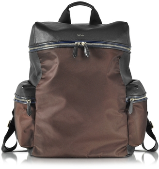Black Nappa and Brown Nylon Men's Rucksack w/Side Pockets