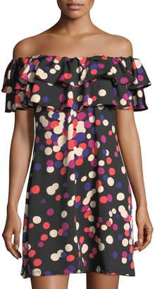 Julie Brown Selina Dot-Print One-Shoulder Dress