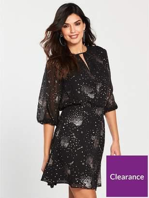 Warehouse Sparkle Star Dress - Black