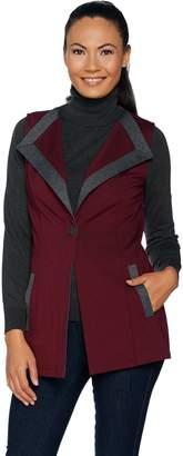 Dennis Basso Ponte Knit Vest with Contrast Trim