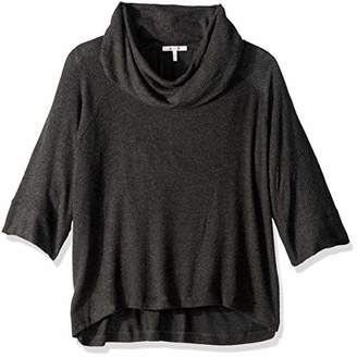 Three Dots Women's Brushed Sweater Cowl Loose Long Top