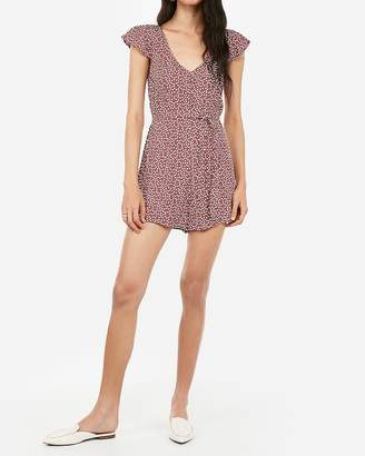 Express Printed Covered Button V-Neck Tie Waist Romper