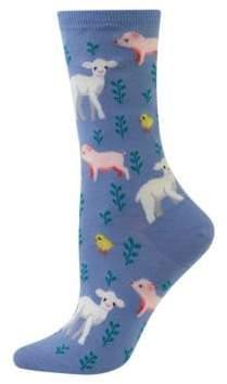 Hot Sox Piglet, Lamb and Chick Printed Socks