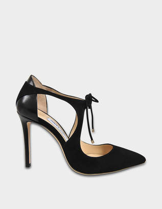 Jimmy Choo Vanessa 100 Suede Tie Up Pumps in Black Suede and Nappa