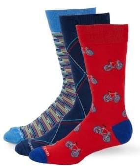 Three-Pack Printed Crew Socks