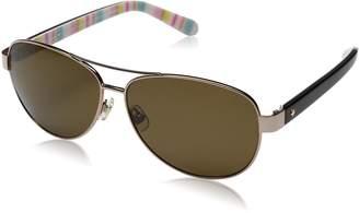 Kate Spade Women's Dalia2/P/S Polarized Aviator Sunglasses, Light Gold/Brown