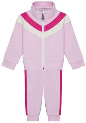 Moncler Velour Chevron-Trim Jacket w/ Matching Pants, Size 12M-3