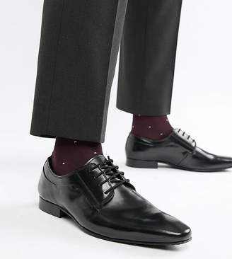Dune Wide Fit Lace Up Derby Shoes In Black High Shine