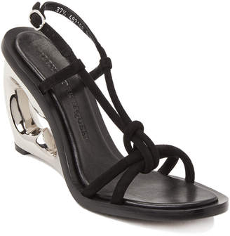 Alexander McQueen Black Strappy Suede Structured Wedge Sandals