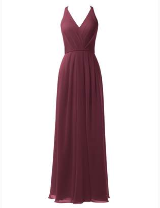 Alicepub V-neck Chiffon Bridesmaid Dress Long Formal Evening Party Gown Maxi Dress