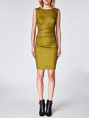 Nicole Miller Women's Solid Stretch Linen X-Back Tuck Dress