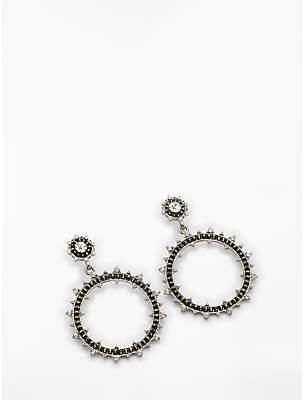 At John Lewis And Partners Long Cubic Zirconia Circle Drop Earrings Gunmetal
