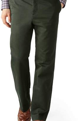 Charles Tyrwhitt Dark green classic fit flat front washed chinos