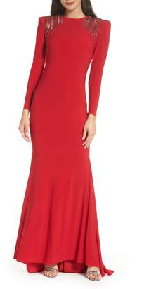 Mac Duggal IEENA FOR  Embellished Shoulder Jersey Gown