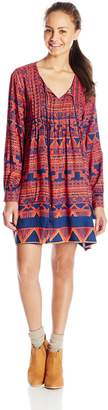 Angie Junior's Tribal Print Long Sleeve Dress