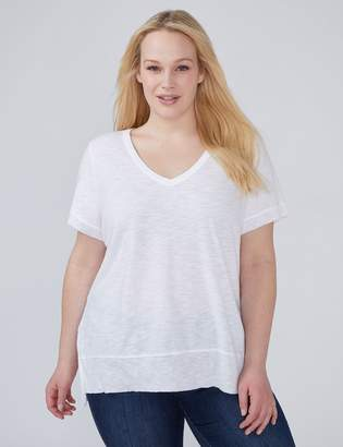 Ribbed Trim Split-Hem Tee