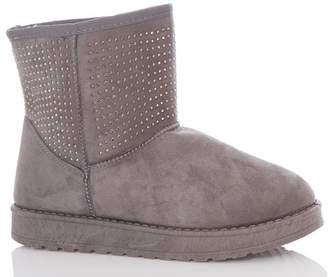 Quiz Grey Faux Suede Stud Boots