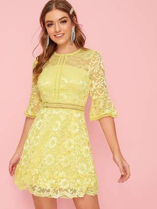 Shein Flounce Sleeve Lace Overlay Fit and Flare Dress