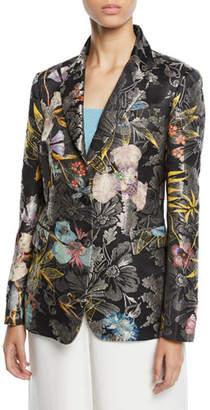 Etro Metallic Floral-Jacquard Two-Button Blazer